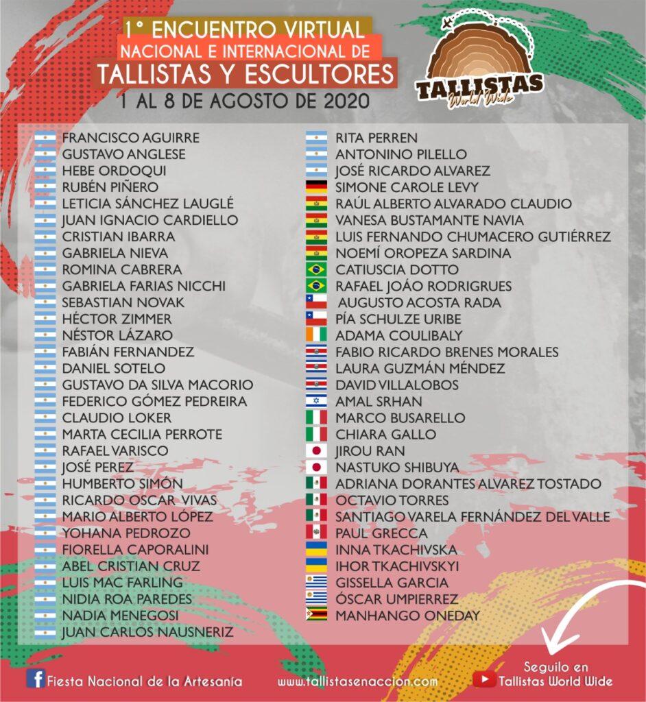 primer encuentro Virtual de tallista y escultores nacionales e internacionales, los mejores del mundo desde Coló Entre Ríos Argentina